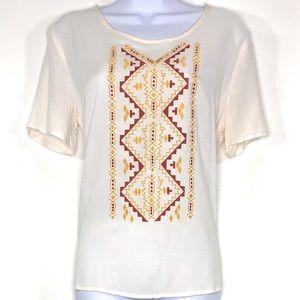 LOVE FIRE Cream Embroidered Aztec Design Sz Small